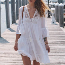 Sweet Lace Stitching V Collar Ruffled Beach Vacation Dress