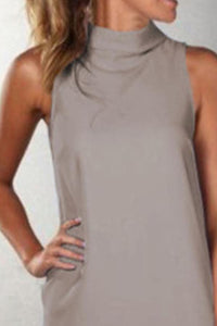 Crew Neck  Plain  Sleeveless Casual Dresses