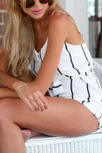 Spaghetti Strap  Backless  Belt  Striped  Sleeveless  Playsuits
