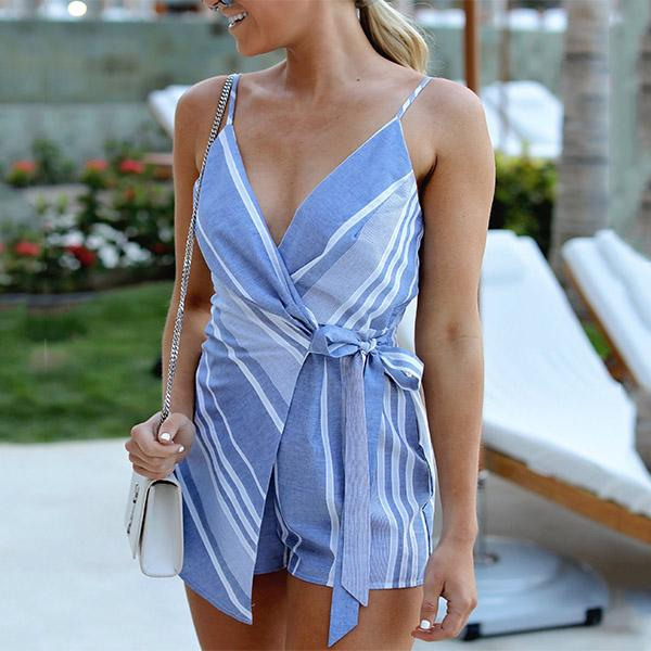Sexy Deep V Printing Stripe Jumpsuit
