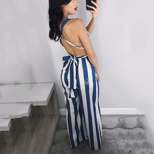 Sexy Deep V Sleeveless Striped Jumpsuit