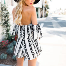 Off Shoulder Sexy Printed Stripe Playsuit
