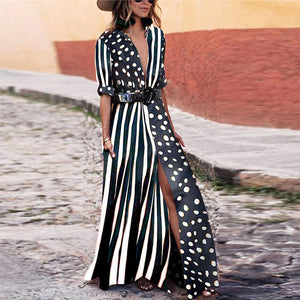 Fashionable V-Neck Striped Polka Dot Vacation Dress