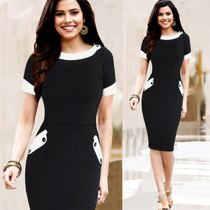 Fashion Professional White Collar Skinny Buckle Dress