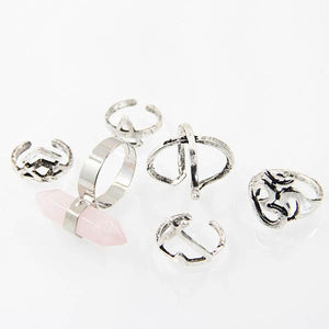 Bohemian Hexagonal Column Six-Piece Ring Set
