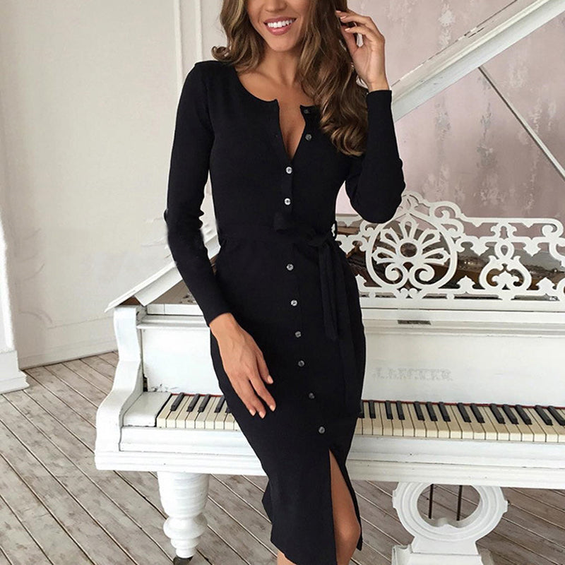 2018 Sexy Long Sleeve Bodycon Dress With Buckle