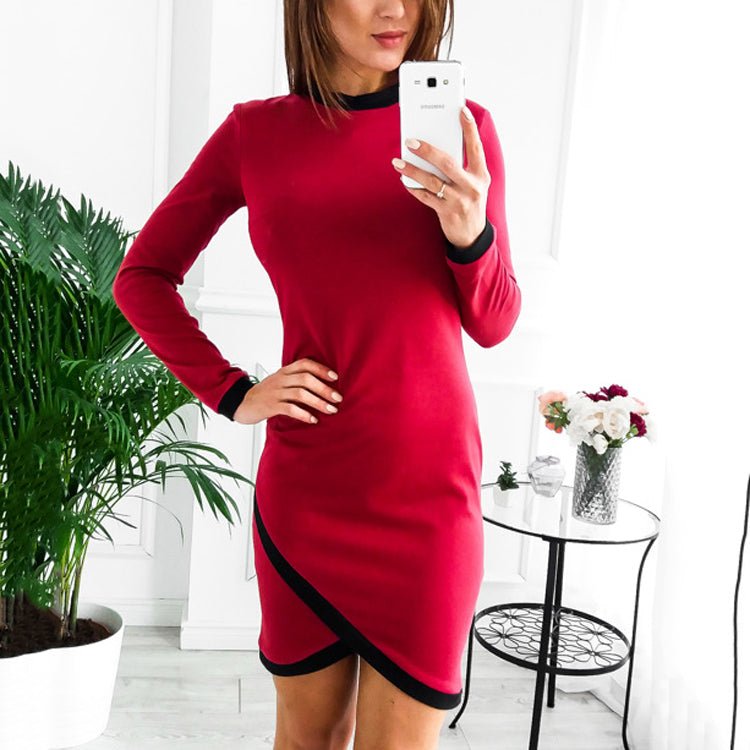Fashion Long Sleeve Colorblock Bodycon Dress