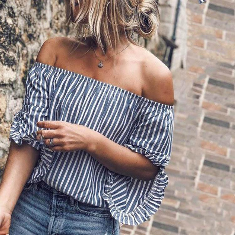 Off Shoulder  Backless  Stripes  Blouses