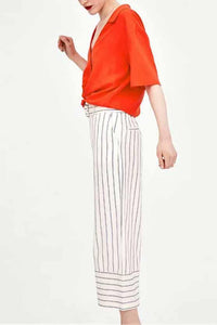 Summer Defined Waist Stripe Straight Pants