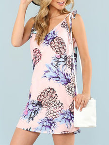 Fashion Pineapple Print Bohemian Vacation Dress