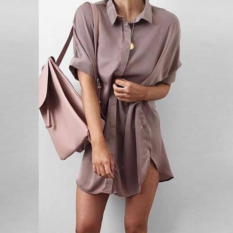 Turn Down Collar  Asymmetric Hem  Plain  Half Sleeve Casual Dresses