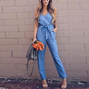 Sexy Sling Backless Belt Cowboy  Jumpsuit