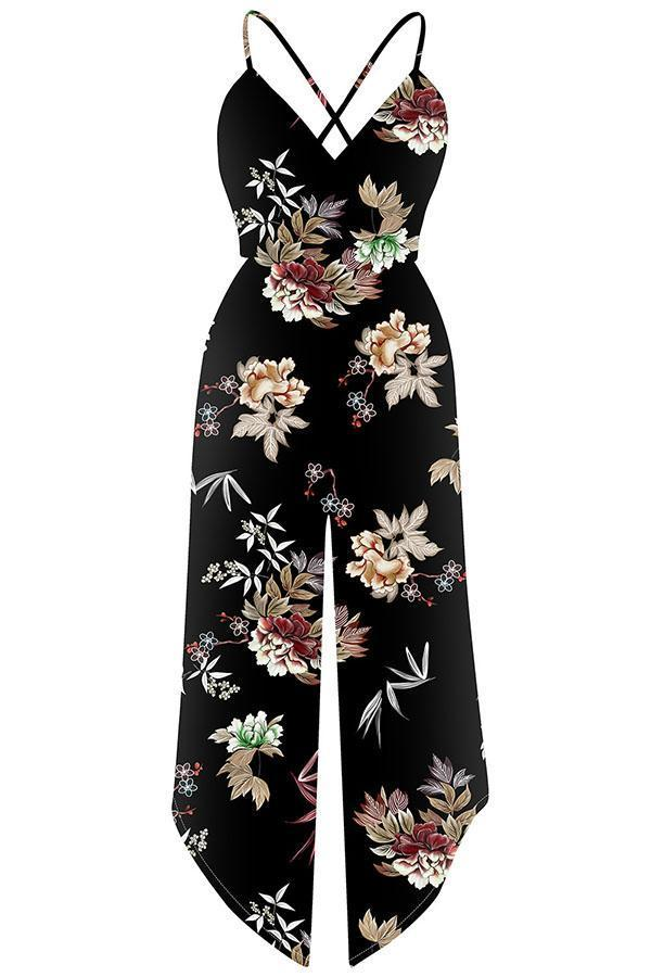 Deep V Neck Floral Print Sleeveless Jumpsuit