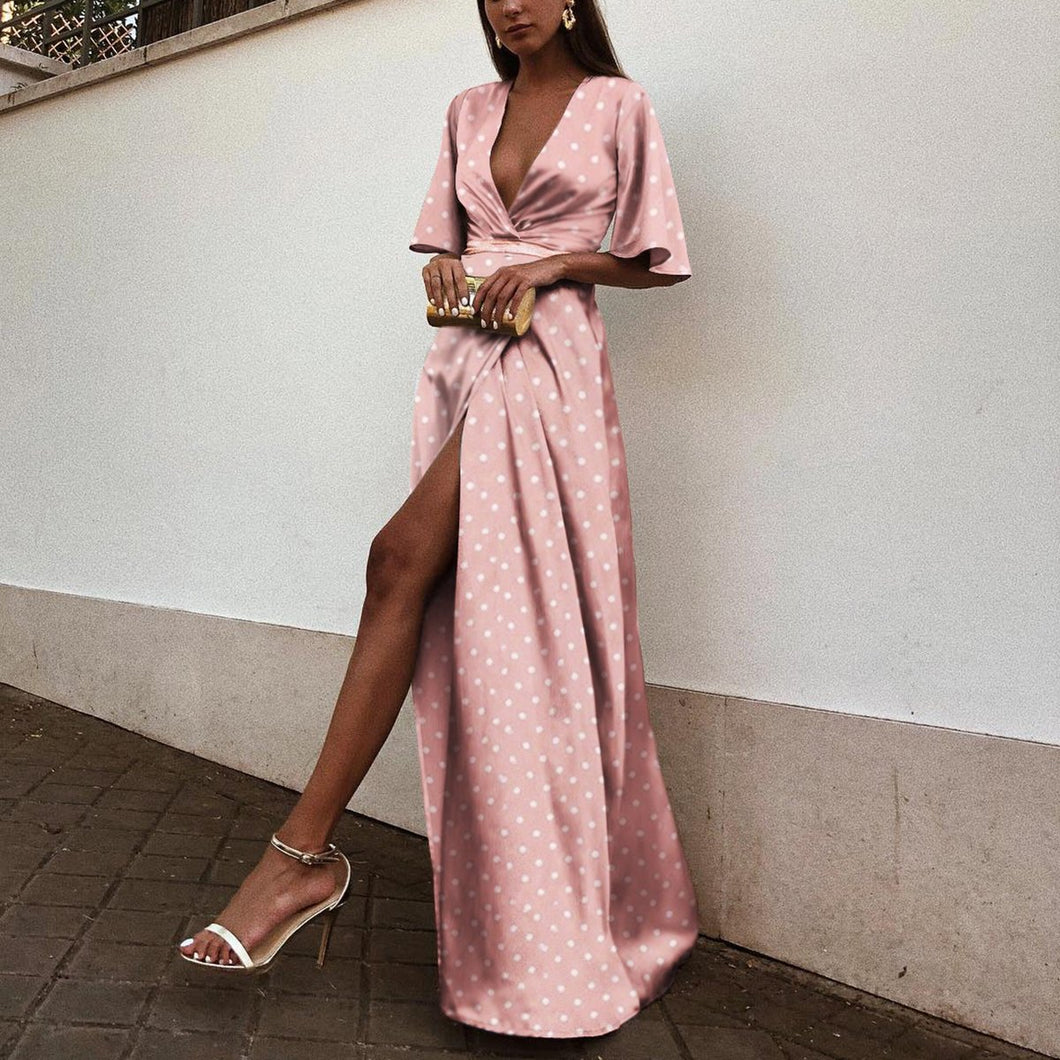 Sexy V Neck Wave Point Short Sleeves Maxi Dress