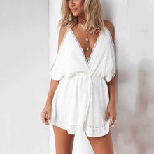 Sexy Deep V Collar Lace Off Shoulder White Shift Dress