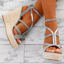Fashion Cross Strap Woven Wedge High Heel Sandal