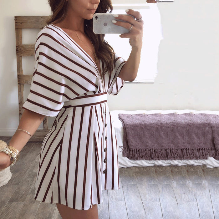 Sexy Deep V Collar Stripe Backless Button Shift Dress