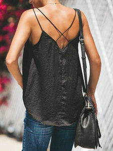 Deep V Eyelash Lace Halter Cross Vests