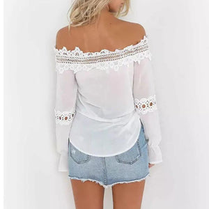 Fashion Lace Off Shoulder Long Sleeve Blouse