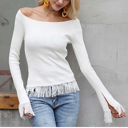Fringed Long Sleeve Top