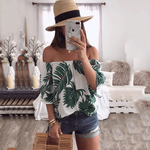 Sexy Off Shoulder Floral Printed Shirt
