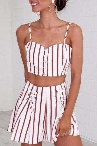d6104e61eb3a Sexy Sleeveless Two-Piece Stripes Romper Suits