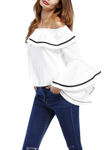 Off-Shoulder Ruffled Trumpet Sleeves Loose T-Shirt