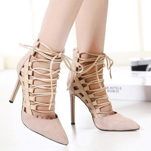 Sexy Suede Cross Strap High Heel Sandals