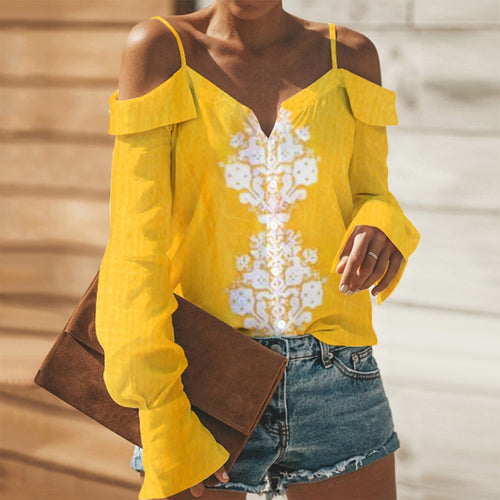 Sexy Yellow Long Sleeves Off Shoulder Blouses T-Shirt