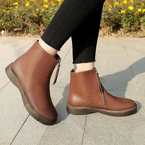 Flat British Fashion Side Zipper Non-Slip Martin Boots