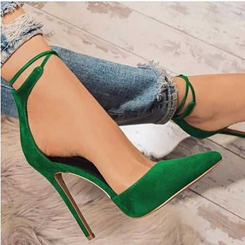 Fashion Rivet Word High Heel Sandals