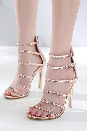 Sexy Belt Peep-Toe High Heel Shoe