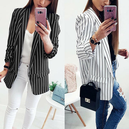 Sexy Open Long Sleeve Striped Suit