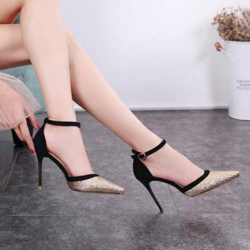 Metal Sequins Pointed Stiletto Heels Hollow Word Buckle Sandals