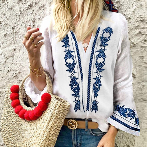 Cotton/Linen Vintage Printed V-Neck Casual Blouse