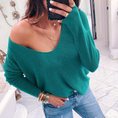 Sexy V-Neck Long Sleeve Pit Loose Women's Clothing