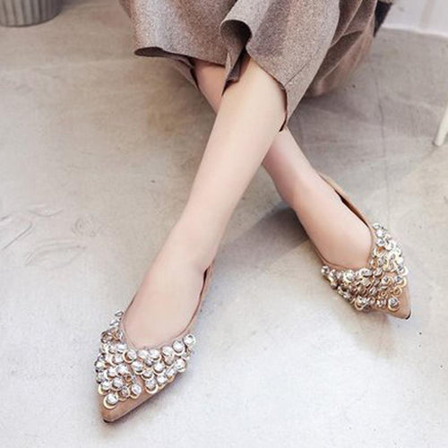 Metal Rhinestone Flat-Bottomed Casual Shoes