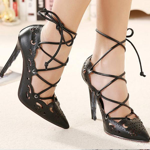 Pointed Openwork Strap Sexy High Heel Pump