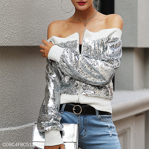 Silver White Collar Sequin Jacket