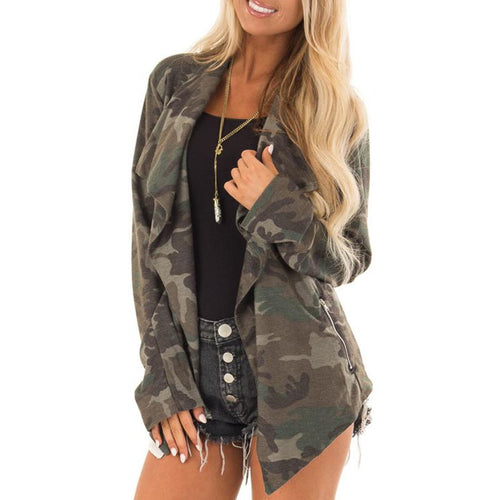 Long Sleeve Camouflage Cardigan