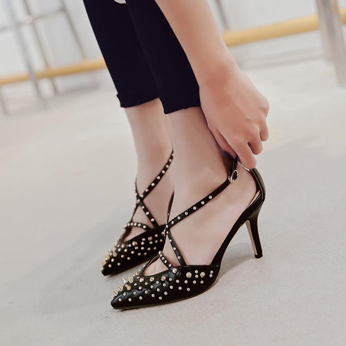 Pointed Rivet High Heels
