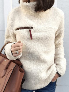 High Neck  Zips  Plain  Long Sleeve Sweaters Pullover