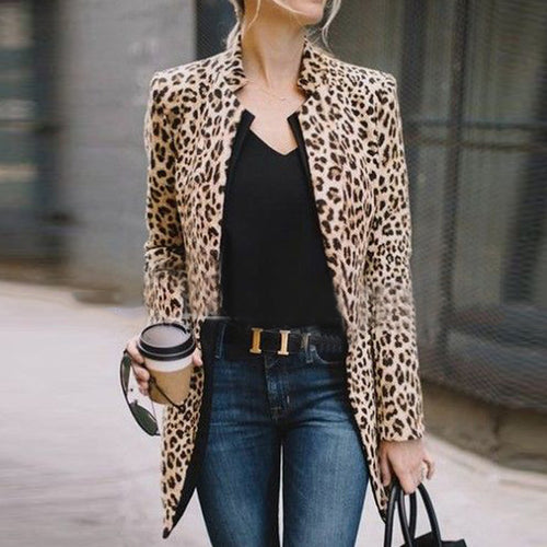 Fashion Straight Collar Long   Sleeve Leopard Print Suit Jacket