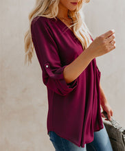 Solid Color Deep V Long Sleeve   Ladies Shirt