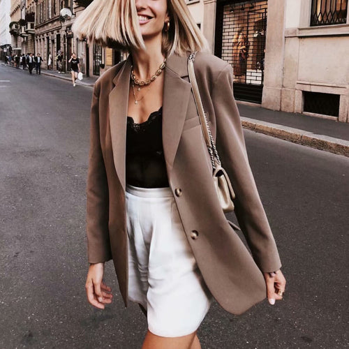 Solid Color Loose Blazer