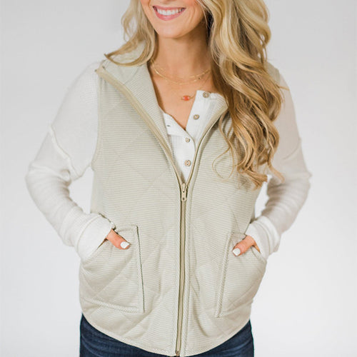 Lapel Splicing Vest  Jacket