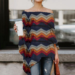 Off-The-Shoulder Irregular Striped Print Sweater