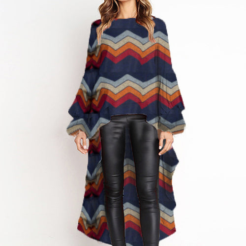 Round Neck Asymmetric Stripe Printed Lantern Sleeves Top