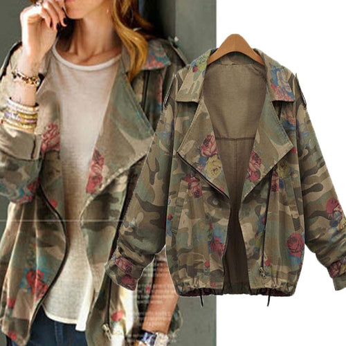 Women Camouflage Print Coat Outdoor Jacket