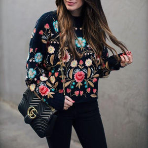 Sweet Retro Chic Loose Embroidery Long Sleeve Knitting Sweater